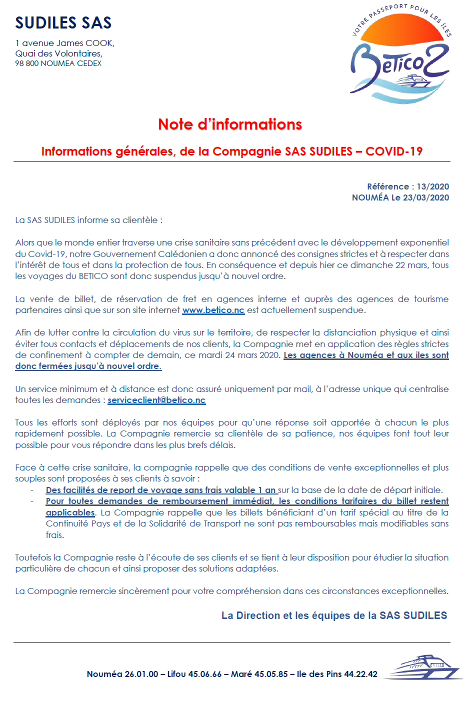 Note d'informations - Covid 19